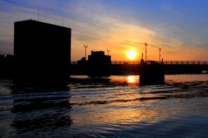 幣舞橋と夕日
